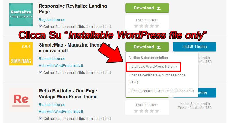 file installazione tema wordpress