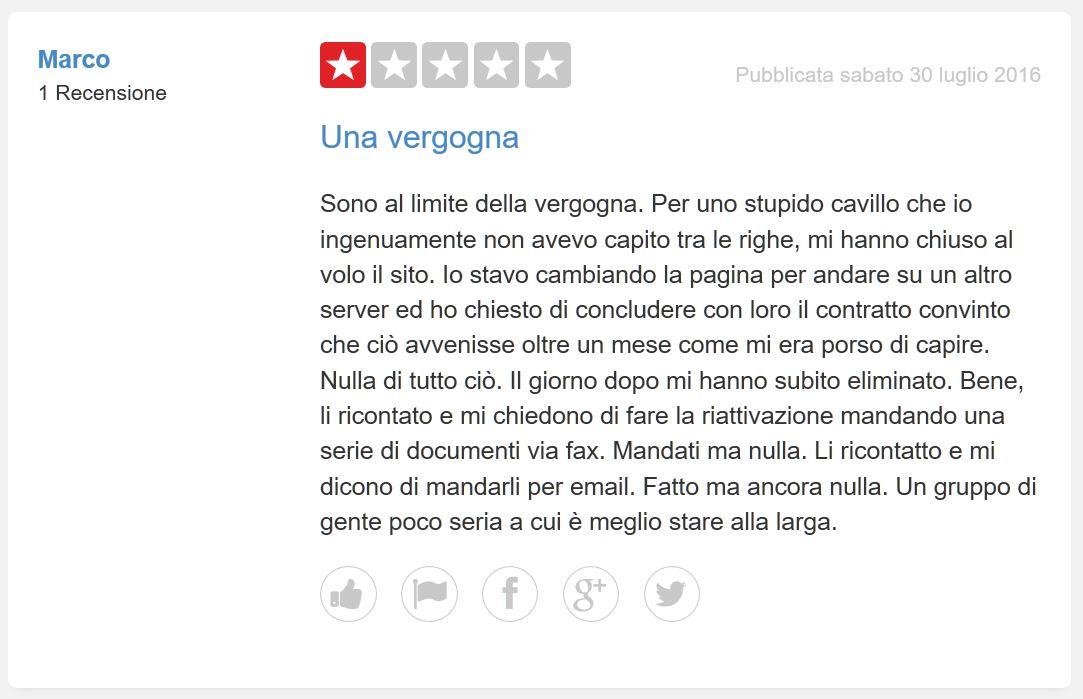 aruba hosting italiano recensione