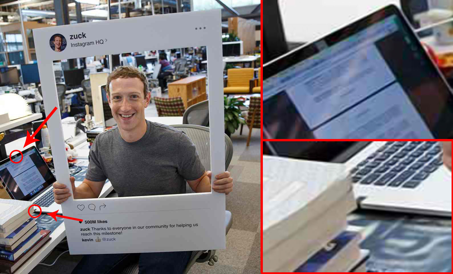 Foto laptop nastro adesivo webcam microfono Mark Zuckerberg