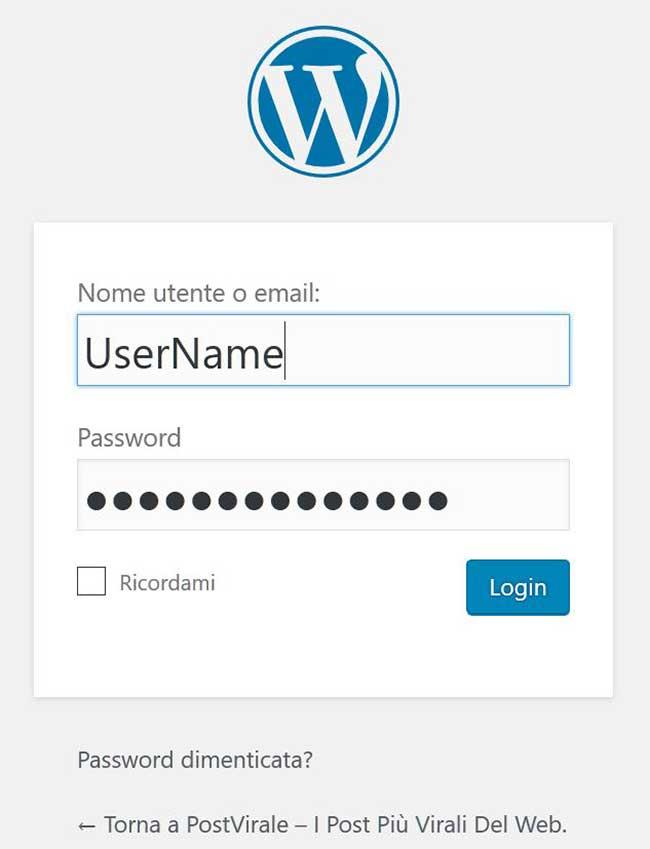 Accesso pannello di controllo WordPress