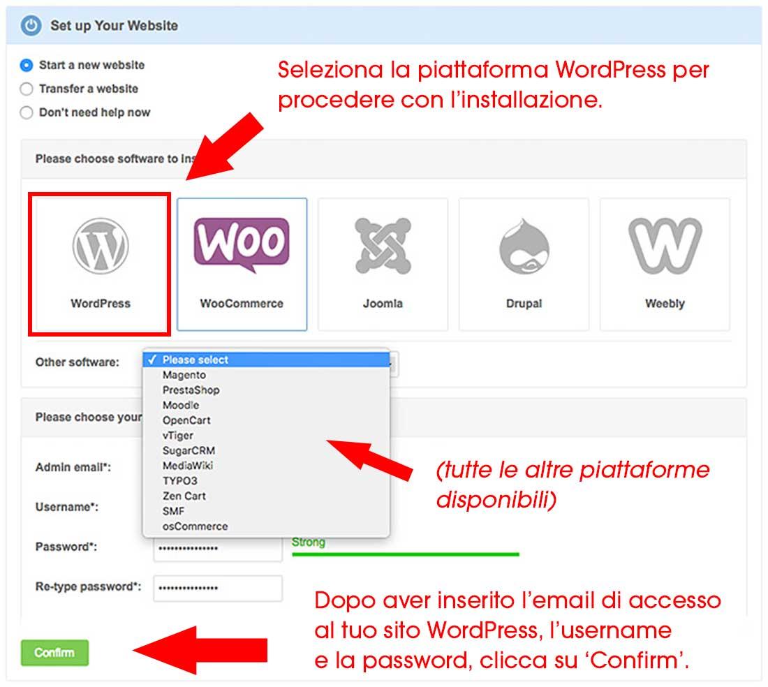 Selezione e installazione della piattaforma WordPress.