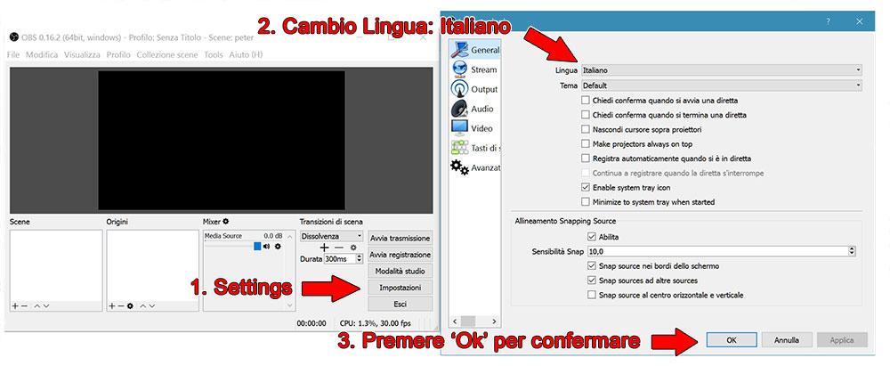 Cambio lingua italiano obs studio