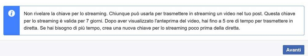 chiave Facebook per lo streaming live