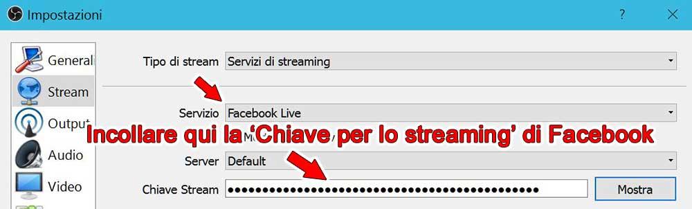 selezionare Facebook live in obs