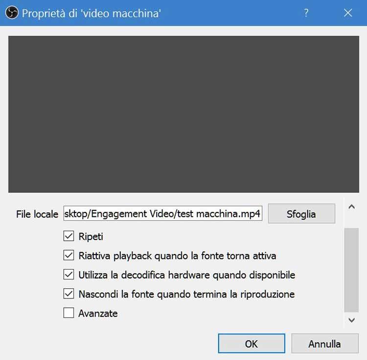 Selezione video e playback ripetizione