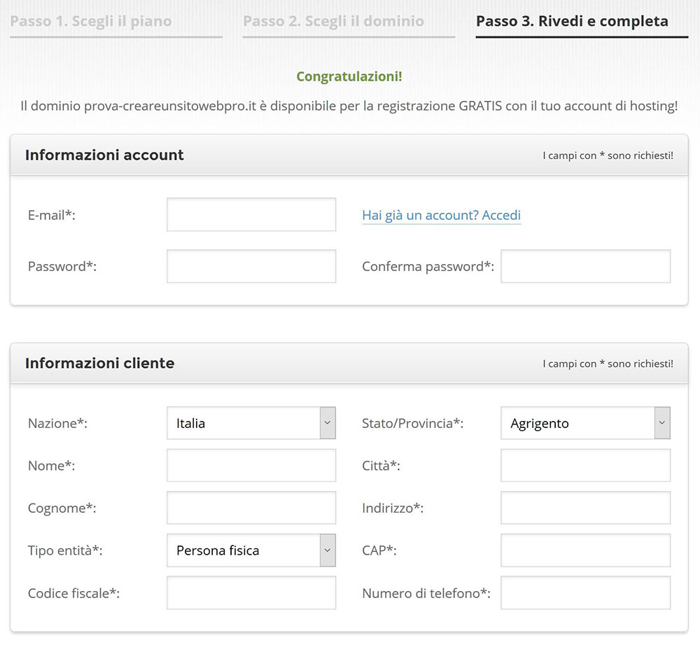 registrazione siteground hosting