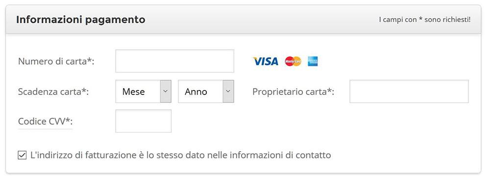 registrazione siteground hosting informazioni pagamento