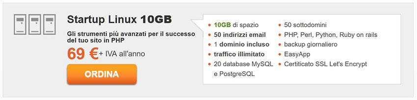 serverplan hosting condiviso Startup Linux 10GB